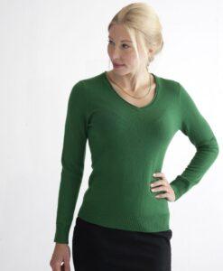 Grön pullover med v-ringad hals i 100% kashmir