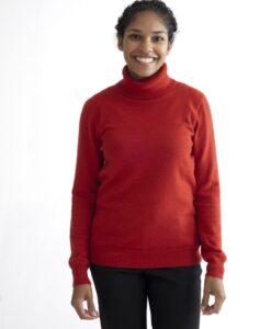 Röd polotröja med lång ärm i 100% kashmir
