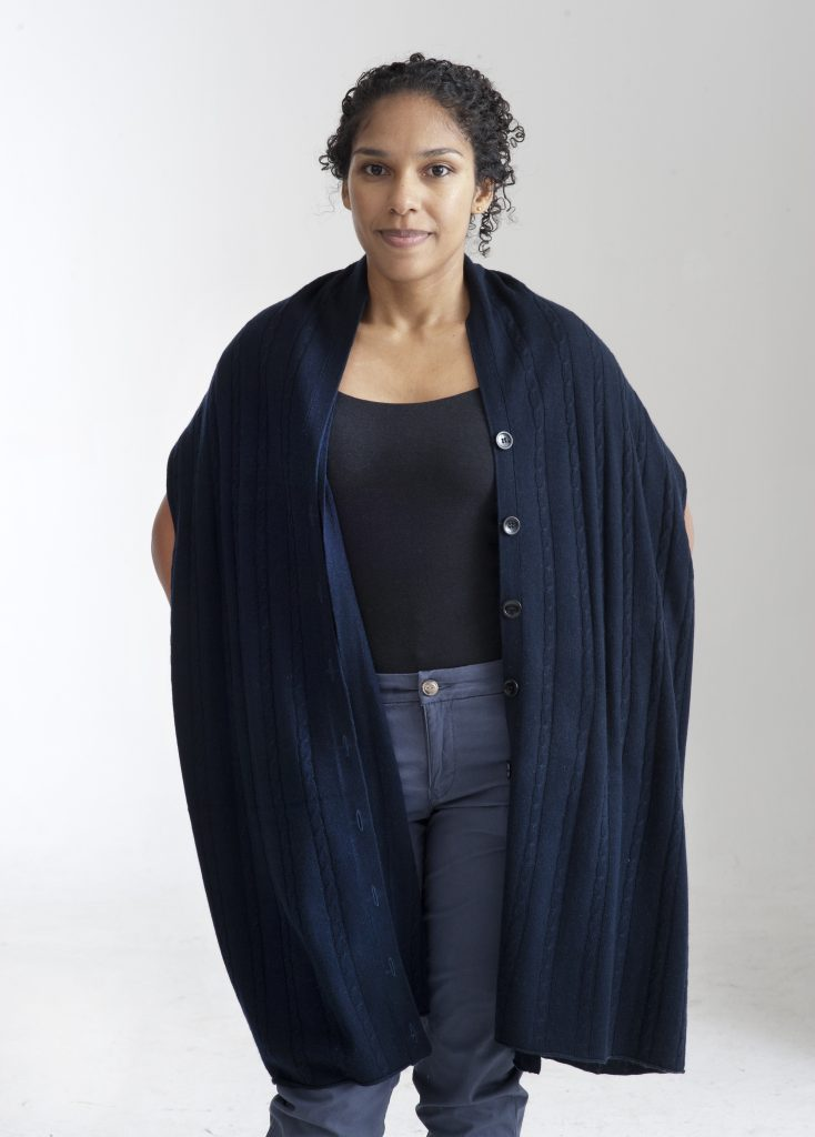 Blå poncho halsduk sjal i silke och cashmere