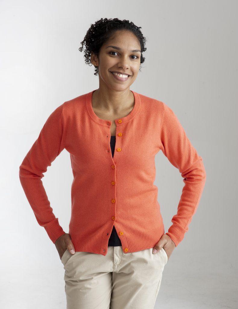 Mörkt orange kofta med rund hals i silke och kashmir