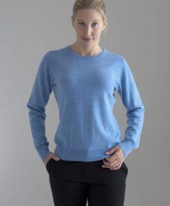 Blå rundhalsad sweater i 100% kashmir. Ett prisvärt basplagg för garderoben.