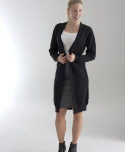 Lång cardigan för damer, stickad i 100% cashmere. Mörkgrå.
